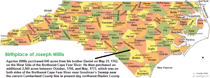 north carolina map, joseph willis, birthplace